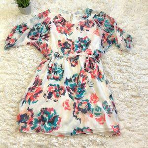 Shosanna silk chiffon floral dress with sleeves